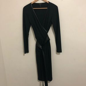 Escada wool and silk blend black wrap dress